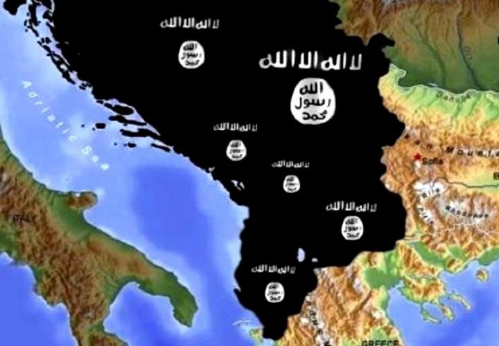 Flamuri i ISIS mbulon vendet e Ballkanit, duke portretizuar një 'Kalifat Ballkanik' | Foto e marrë nga profili në Facebook i një simpatizanti kosovar të ISIS