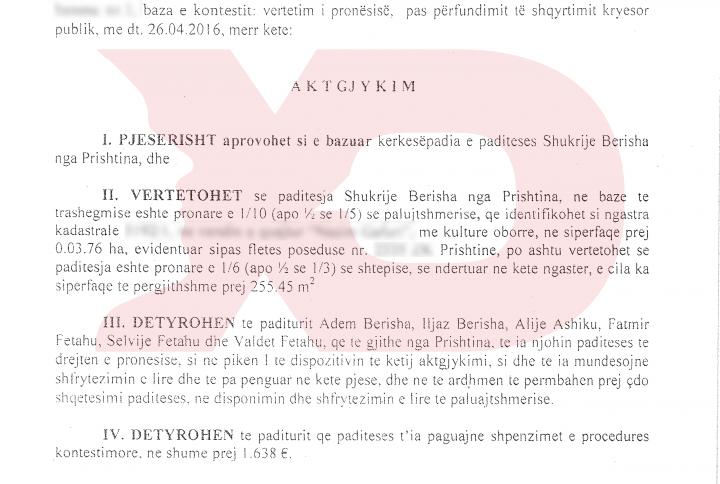 Aktgjykimi për rastin e Shukrije Berishës - Foto: KALLXO.com