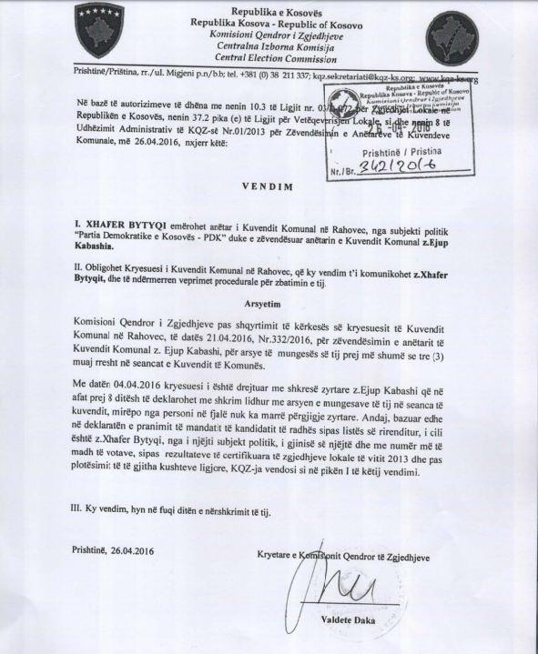 Vendimi i KQZ-së për zëvendësimin e Ejup Kabashit në asamblenë komunale të Rahovecit.