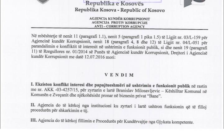 Vendimi i AKK-së për Branisllav Milosavleviqin - Foto: KALLXO.com