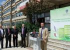 Ministri i MZhE, Blerand Stavileci, te Fakulteti Teknik i UP-së, në përurimin e projektit për efiçiencë të energjisë në ndërtesa publike. Foto: MZhE