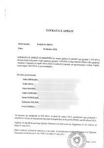 Aktgjykimi i Gjykatës së Apelit për Rastin Drenica - Foto: KALLXO.com