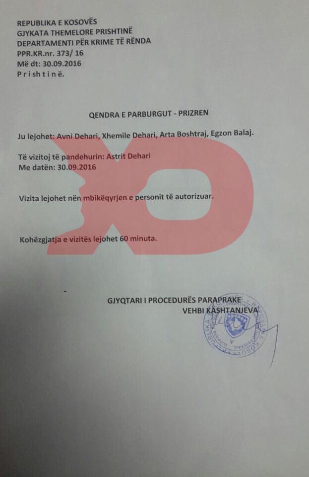 Leja e gjyqtarit Kashtanjeva për vizitën te Dehari i aktivistit Egzon Balaj dhe familjarëve
