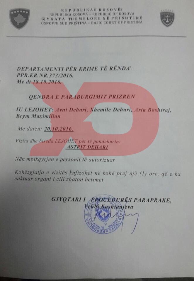 Leja e lëshuar nga gjyqtari Kashtanjeva për vizitën e Brym Max dhe familjarëve të Deharit