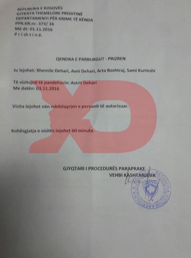 Leja e lëshuar nga gjyqtari Kashtanjeva për Sami Kurteshin dhe familjarë të Astrit Deharit