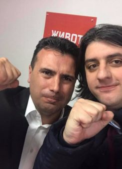 Lideri i LSDM, Zoran Zaev, dhe deputeti i ri shqiptar i kësaj partie, Muhamed Zekiri. Foto: Facebook