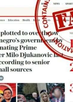 """Një pamje e ekranit të artikullit të """"Telegraph"""" në lidhje me Malin e Zi me shenjën """"i rremë"""" mund të shihet në web-sajtin e Ministrisë ruse."""