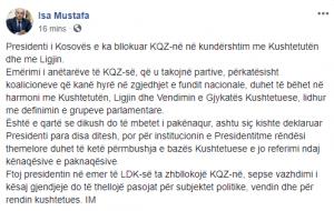 Isa Mustafa fton Thaçin që të  zhbllokojë  KQZ në