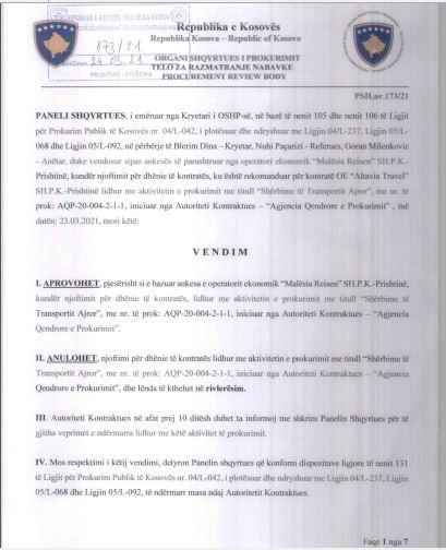Organi Shqyrtues i Prokurimit (OShP): Vendim 173/21